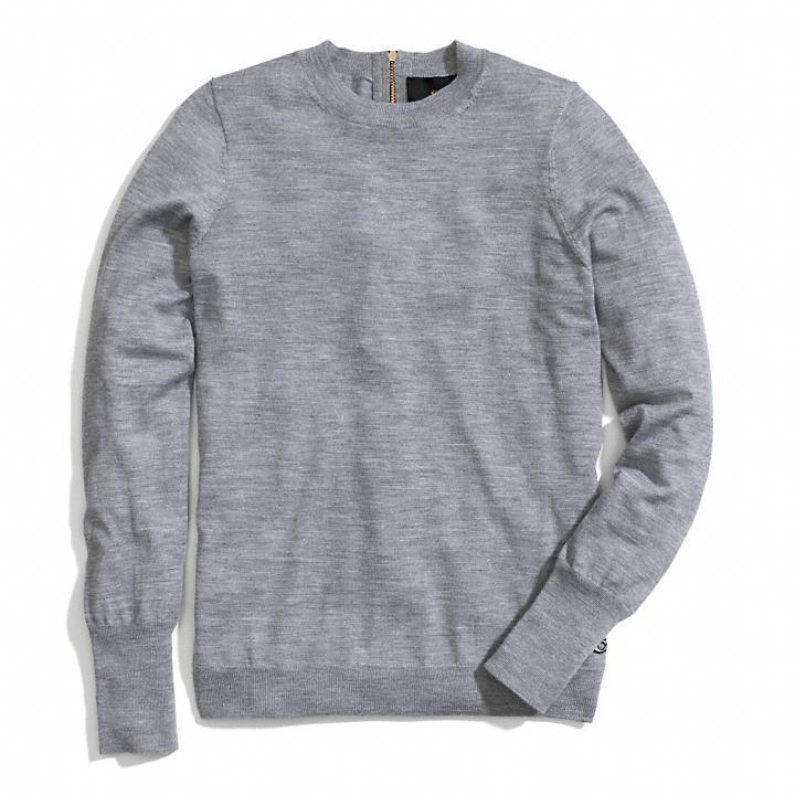 Zip Back Fine Gauge Crewneck Sweater