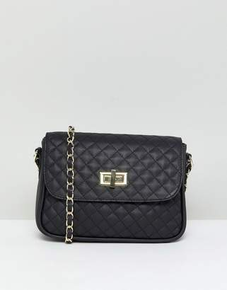 Asos Leather Quilted Lock Cross Body