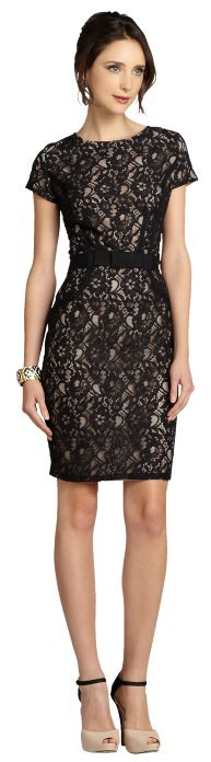 Taylor black lace cap sleeve dress