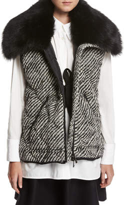 Moncler Eleagnus Tweed Quilted Vest w/ Fur Trim