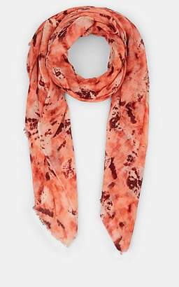 Barneys New York WOMEN'S TIE-DYED GAUZE SCARF - CORAL COMBO