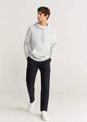 MANGO MAN - Flecked knit sweatshirt light heather grey - XS - Men