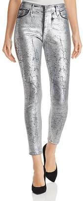 AG Jeans Farrah Metallic Coated Skinny Jeans in Iced Silver