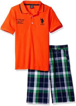 U.S. Polo Assn. Big Boys' Embellished Pique Shirt and Short
