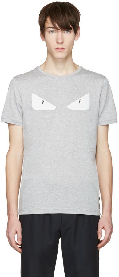Fendi Grey 'Bag Bug' Basic T-Shirt