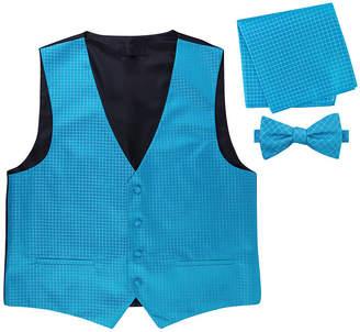 Asstd National Brand Metallic Grid Vest, Bow Tie & Pocket Square Set