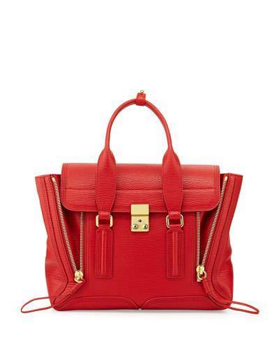 3.1 Phillip Lim Pashli Medium Zip Satchel Bag, Red