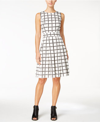 Tommy Hilfiger Windowpane Plaid Fit & Flare Dress $139 thestylecure.com