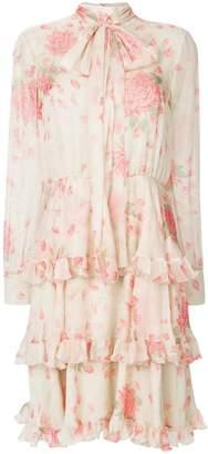 Valentino rose-print tiered dress