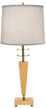 One Kings Lane Vintage Sculptural Brass & Wood Table Lamp - Janney's Collection