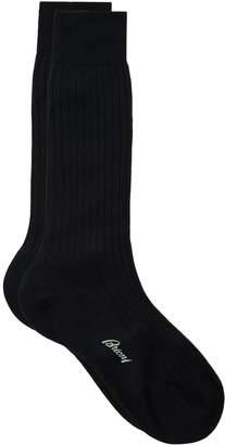 Brioni Short Ribbed Cotton Socks