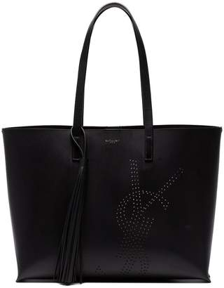 Saint Laurent Black Logo Leather Tote Bag