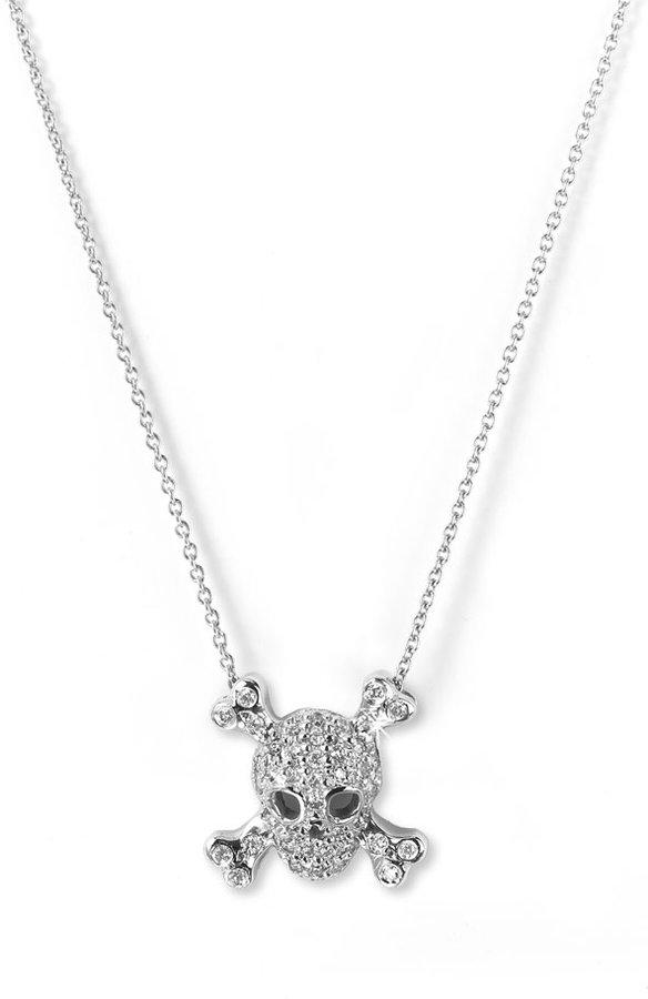 Roberto Coin 'Tiny Treasures' Skull & Crossbones Pendant Necklace