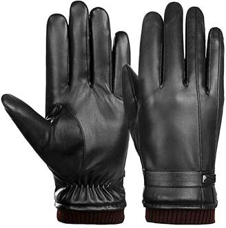 Men Driving Gloves Ulstar Touchscreen Leather Gloves Winter Warm Texting Gloves (Style2
