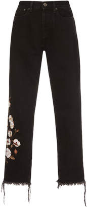 Off-White Mid-Rise Embroidered Cropped Straight-Leg Jeans
