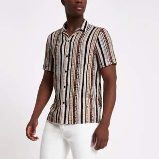 River Island Mens Cream aztec print revere collar shirt