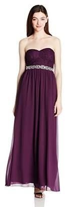 Speechless Junior's Strapless Lace to Chiffon Maxi Dress
