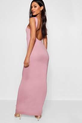 boohoo Scoop Back Basic Jersey Maxi Dress