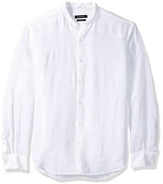Bugatchi Men's Tailored Fit Linen Long Sleeve Band Collar Shirt