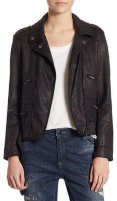 The Kooples Waxed Biker-Style Jacket