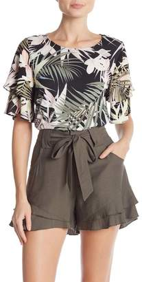 Cynthia Steffe CeCe by Short Tiered Ruffle Sleeve Tropical Print Top