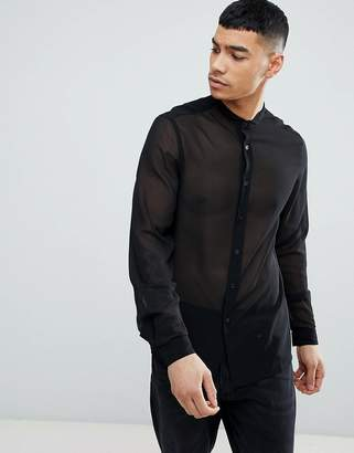 Asos DESIGN Regular Fit Sheer Shirt With Grandad Collar In Black