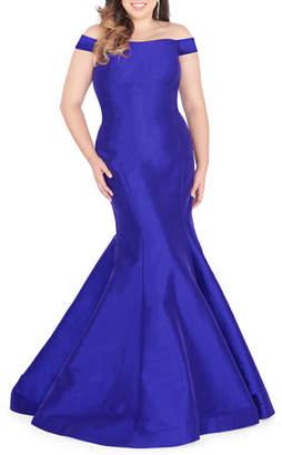 Mac Duggal Plus Size Off-the-Shoulder Taffeta Mermaid Gown