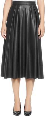 T Tahari Faux Leather Pleated Midi Skirt