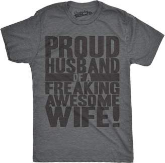 Crazy Dog T-shirts Crazy Dog Tshirts Mens Proud Husband of a Freaking Awesome Wife Funny Marriage T shirt (Back)