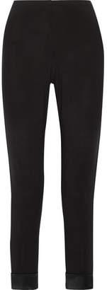 La Perla Blooming Satin-trimmed Stretch-modal Pajama Pants - Black