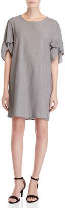 BCBGeneration Stripe Ruffle Short Sleeve Dress