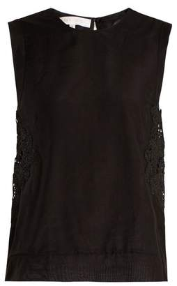 Lila Eugénie Lila Eugenie - 1841 Sleeveless Cotton And Silk Blend Voile Top - Womens - Black