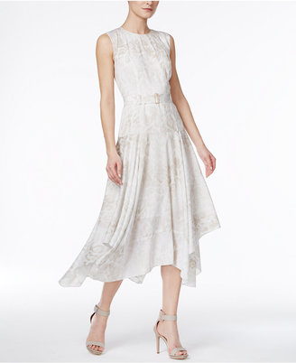 Calvin Klein Belted Handkerchief-Hem Dress $129.50 thestylecure.com