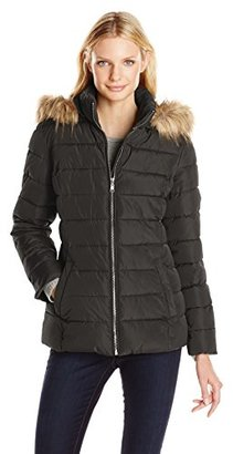 Tommy Hilfiger Women's Down Alternative Coat with Faux Fur Trim Hood $98 thestylecure.com