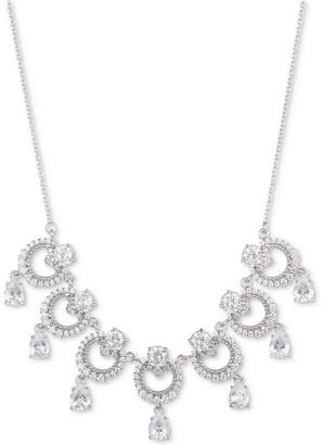 "Marchesa Silver-Tone Cubic Zirconia Link Statement Necklace, 16"" + 3"" extender"