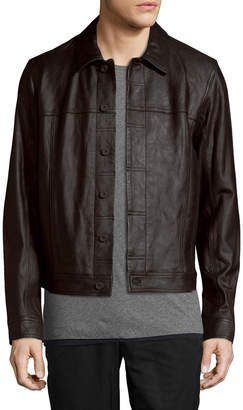 Vince Leather Trucker Jacket