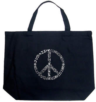 LOS ANGELES POP ART Los Angeles Pop Art Different Faiths Peace Sign Tote