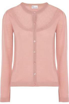 RED Valentino Point D'esprit-paneled Wool Cardigan