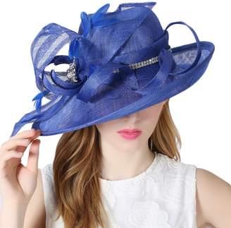 June's Young Women Hats Feathers Diamonding Casing Summer Sun Hats