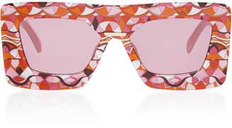 Emilio Pucci Sunglasses Oversized Printed Square Frame Acetate Sunglasses