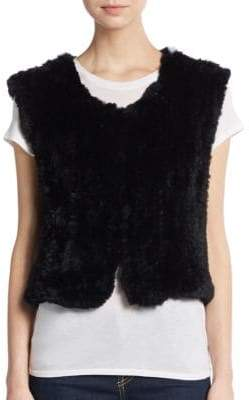 Saks Fifth Avenue Cropped Rabbit Fur Vest