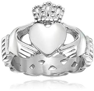 Celtic Crucible Jewelry Mens Stainless Steel Claddagh with Knot Eternity Design Ring