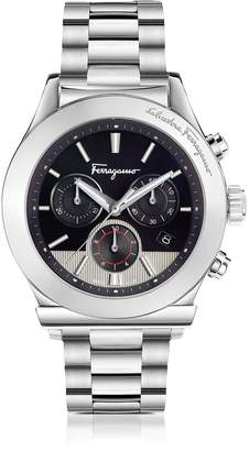Salvatore Ferragamo 1898 Silver Stainless Steel Men's Chronograph Watch w/Black Dial