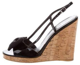 Stuart Weitzman Patent Leather Bow Wedges