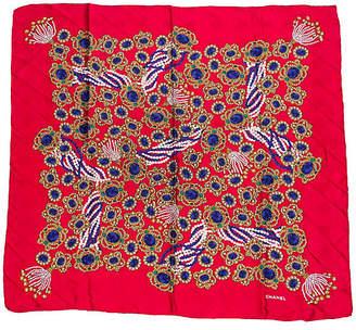 One Kings Lane Vintage Chanel Red Silk Jewel Scarf - Vintage Lux