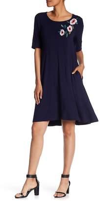 Nina Leonard Embroidered Woven Elbow Sleeve Dress