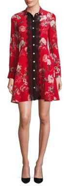 The Kooples Floral-Print Silk Shirtdress $425 thestylecure.com
