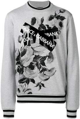 Dolce & Gabbana logo patch floral sweatshirt