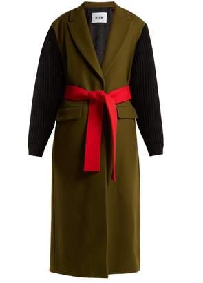 MSGM Ribbed-sleeve colour-block wool-blend coat