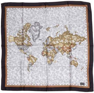 One Kings Lane Vintage Alviero Martini Blue & Brown Map Scarf - Vintage Lux
